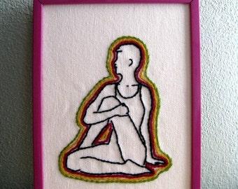 Matsyendrasana --- Spinal Twist.  Hand Embroidered Art.