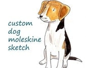 custom portrait dog moleskine sketch