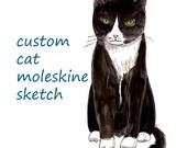 custom portrait cat moleskine sketch