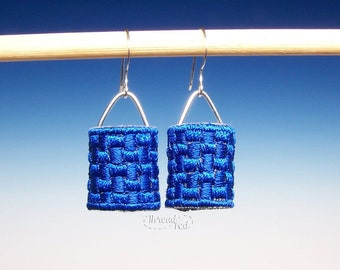 Petite Embroidered Barrel Earrings