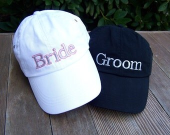 Custom Embroidered Bride and Groom Caps for Wedding, Gift, Shower, Honeymoon