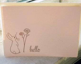 Hello Flower Bunny Letterpress Notecard Set