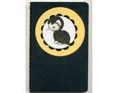 Revamped pocket Moleskine Cahier - Lined black and white cat