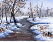 Aceo Winter landscape painting