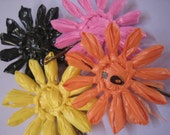 Everlasting daisy hair pins in black and retro brights  (upcycled plastic bags)