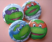 Ninja Turtles set of 4 button badges 37mm or 1.5 in