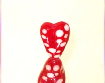 Handmade Lampwork Glass Bead in Bright Red and White - Glass Focal Art Bead - SRA - Dot Heart - 2105