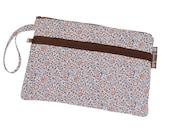 Nook Case Kindle Bag Cover Sleeve Front Pocket - Deluxe eREADER ROO - Large Wristlet - WASHABLE - by Borsa Bella - Orange Tea Rose Fabric