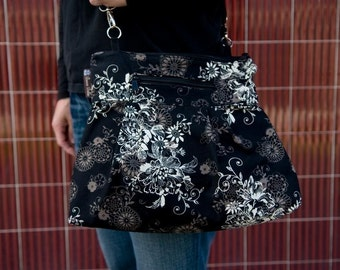 iPad Purse Kindle Handbag iPad Shoulder Bag Nook Purse Padded Electronics Pocket MEDIUM HOBO BAG Black Beauty Fabric