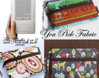 Kindle Case Kindle Bag Nook Cover Sleeve with Front Pocket - Deluxe eREADER ROO - You Pick the Fabric - Large Wristlet - Washable