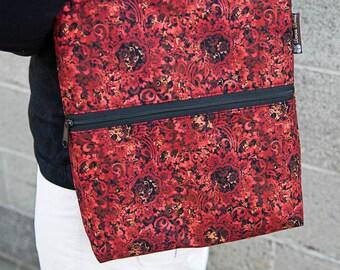 iPad Purse Kindle iPad Shoulder Bag iPad Purse Cross Body Bag - Fast Shipping - ELECTRONIC POCKET - BORSETTA Handbag - Crimson Leaves Fabric