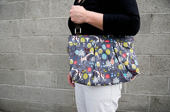 iPad Bag Kindle Handbag iPad Shoulder Bag iPad Purse Cross Body Bag Nook bag ELECTRONIC POCKET - MOXIE Handbag -- Giraffes Can DanceFabric