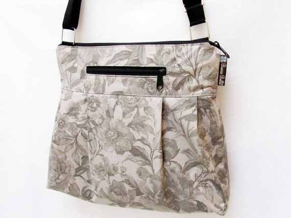 iPad Purse Kindle Handbag iPad Shoulder Bag Nook Purse Padded Electronics Pocket MEDIUM HOBO BAG Vintage Gray Fabric