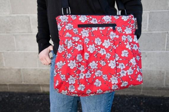 iPad Purse Kindle Handbag iPad Shoulder Bag - Fast Shipping - Purse Padded Electronics Pocket MEDIUM HOBO BAG Rolling Red Fabric