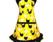 Retro Kitchen Apron, Polka Dot Chickens on yellow,  Full Hostess Style Ruffle