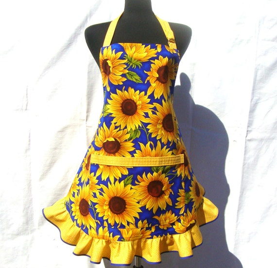 Retro Kitchen Apron,  Sunflowers on Blue, Hostess Style Ruffle