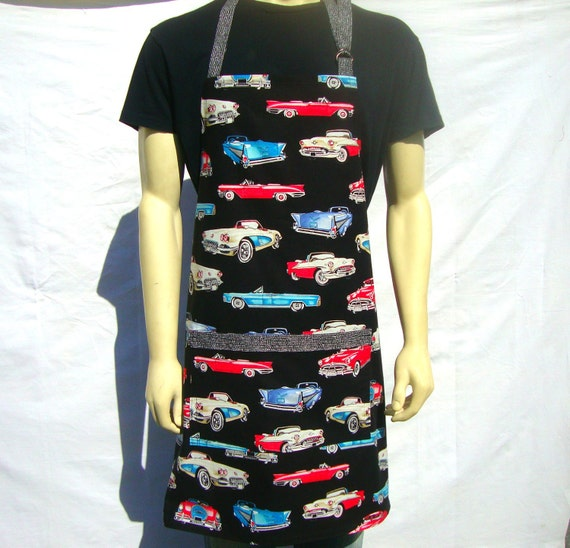 Full Mens Apron, Classic Cars, Chef Style with Pocket
