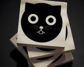 Coasters- Watson the Cat - Wood Block Coaster - Set of Four