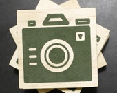 Coaster - Iconic Camera - Wood Block Coasters - Set of 4