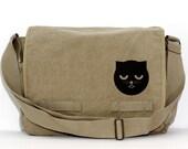 Messenger Bag: Sleepy Watson the Cat (Women & Men) Crossbody Large Canvas Bag, Cute Bag, Laptop Messenger Bag, Women's Messenger Bag