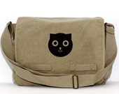 Kawaii Cat Messenger Bag, Watson the Cat, Crossbody Large Canvas Bag, Laptop Bag, Cute Diaper Bag, Gift Cat Lover, Women Messenger Bag