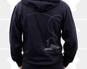 Fly Fishing - Men Hoodie - Navy Blue Zip-Up