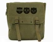 SALE Cat Bag Backpack, Canvas Backpack, Watson the Cat, Rucksack, Travel Bag, Festival Backpack, Cute Kawaii, Women's Backpack, Green