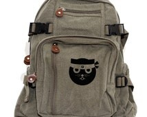 Backpack Ninja Kitty, Rucksack, Knapsack, Cat Backpack, Kung Fu Watson the Cat, Canvas Backpack, Kawaii Weekender Bag, Women & Men Backpack