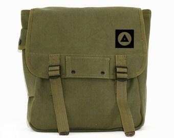 Military Canvas Backpack, Bauhaus Eye, Rucksack, Travel Bag, Laptop Backpack, Geometric, Green, Men's Backpack, Women's Backpack, School Bag
