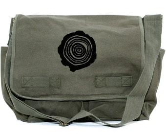 SALE Messenger Bag, Tree Rings, Crossbody Large Canvas Bag, Laptop Messenger Bag, Men Messenger Bag, Women Messenger Bag, Camera Bag School