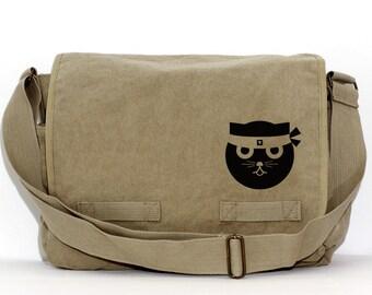 Messenger Bag   Kung Fu CAT   Kawaii   Gift for Women   Camera Bag   Ninja Cat   Travel   Large   Gift for Girl Sister Daughter   Cat Gift
