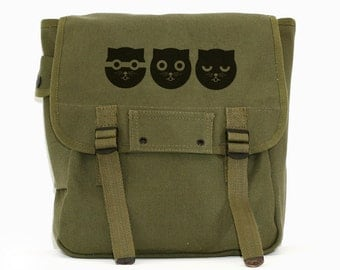 Cat Bag Backpack, Canvas Backpack, Watson the Cat, Rucksack, Travel Bag, Festival Backpack, Cute Kawaii, Women's Backpack, Green