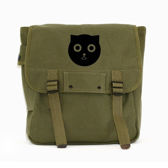 Simple Backpack Watson the Cat Army Green