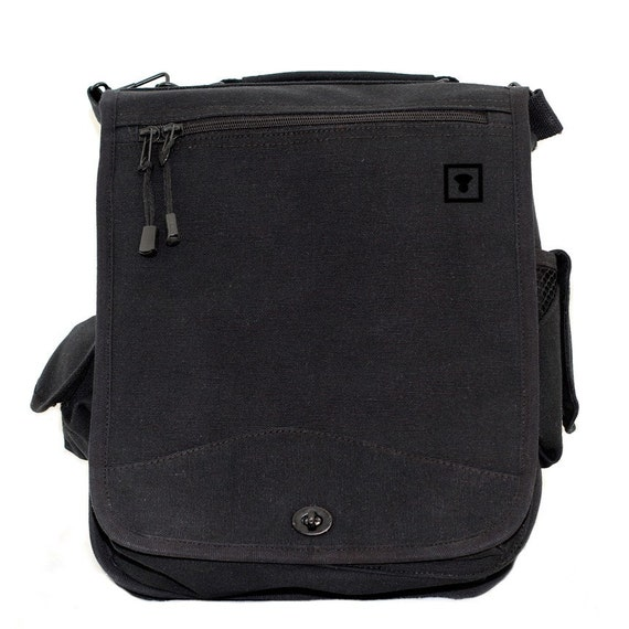 Messenger Bag - Minimalist  Medium Control Icon - Carry All Bag - Black