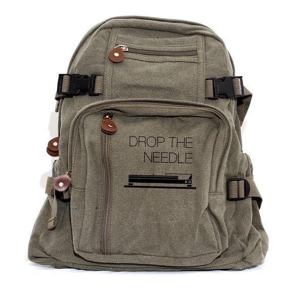 Musician Gift Backpack, Canvas Backpack Rucksack, Drop the Needle, Travel Backpack, DJ Gifts, Festival Backpack, Turntable, Gift Men