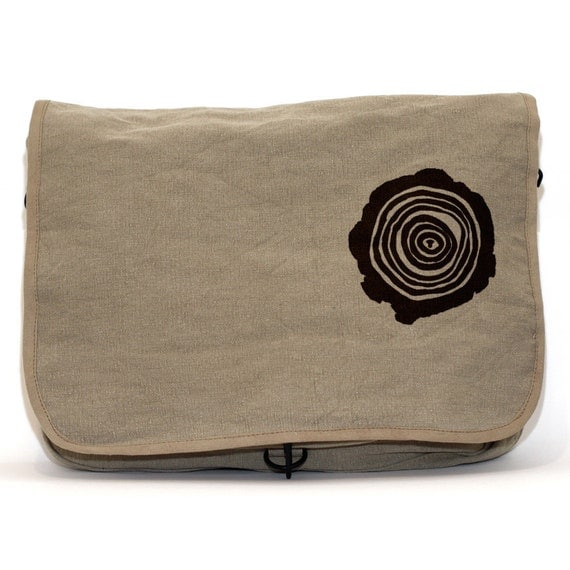 DISCOUNTED - Messenger Bag - Tree Rings - Lightweight Canvas  Khaki