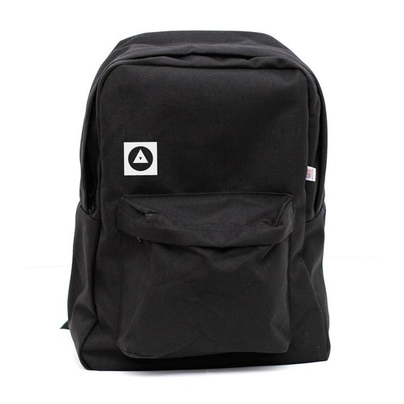 Backpack: Bauhaus Eye, Nylon Backpack, Rucksack, Laptop Backpack, Black Backpack, College, Geometric Shapes, Mens Backpack, Womens Backpack