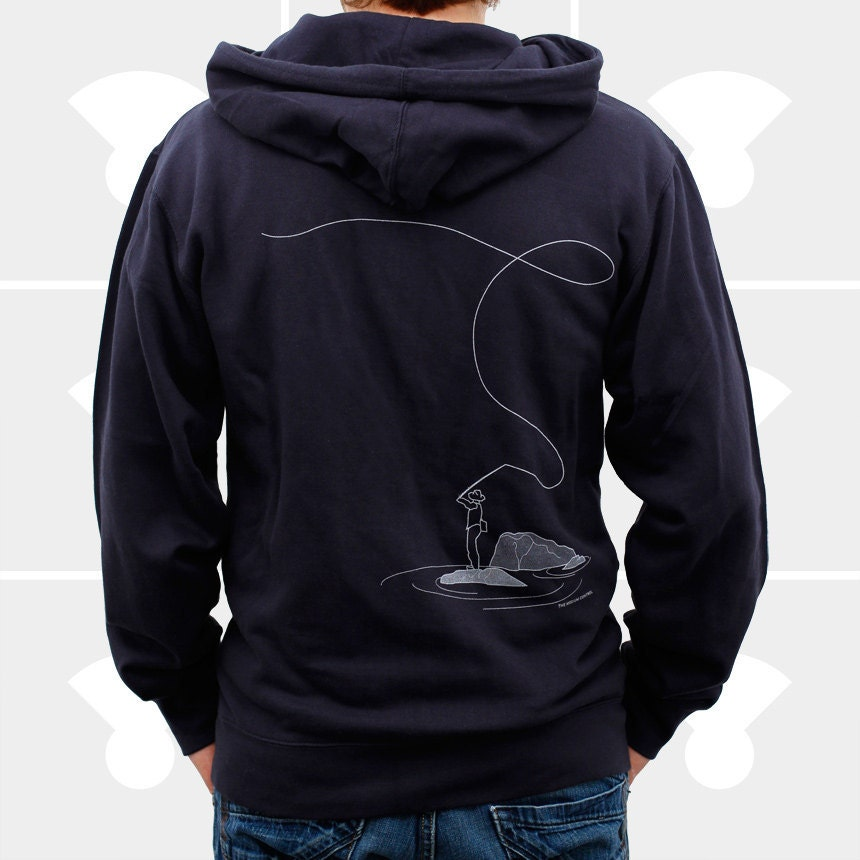 men hoodie fly fishing zip up navy blue hoodie available