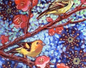 Western Tanagers with Flowering Quince Greeting Card