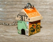 Funky Little DOG HOUSE Charm - Free Puppies - Art By Heather - Ready To Ship