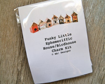 House Birdhouse Charm Kit - Fun & Funky EVERYTHING You Need to Do It Yourself DIY - Art By Heather