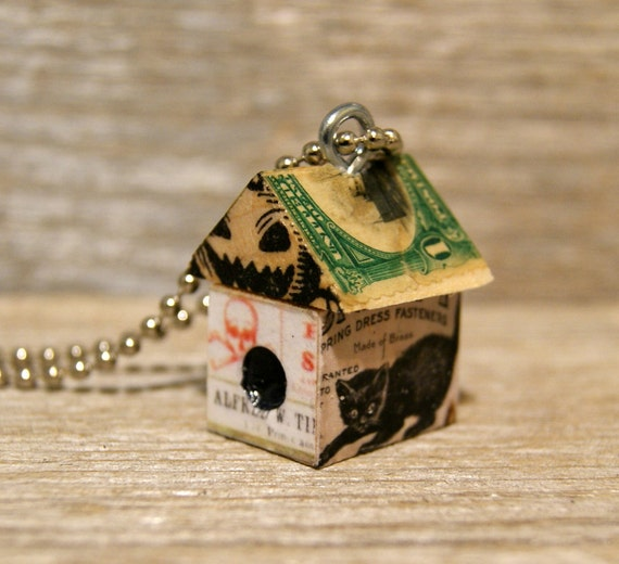 Funky Little Haunted House Birdhouse Charm Pendant Keychain Necklace - Haunted Farm Cat - Art By Heather - Ready to Ship