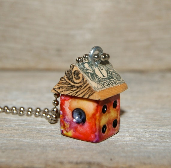 Funky Little BirdHouse Dice Necklace Charm - Summer Fun II - Art By Heather - Ready To Ship