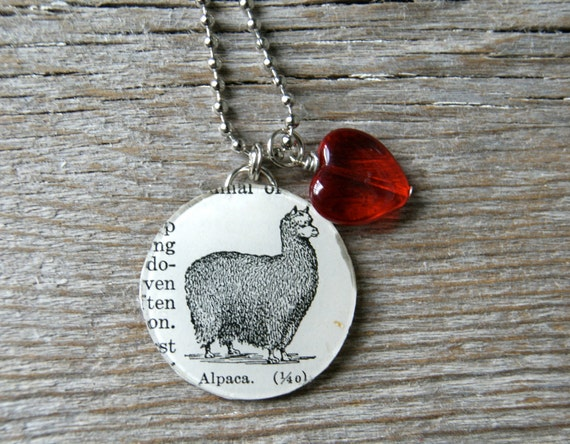 Alpaca Love - Altered Vintage Glass Watch Crystal Pendant Necklace - Recycled Upcycled - Ready To Ship