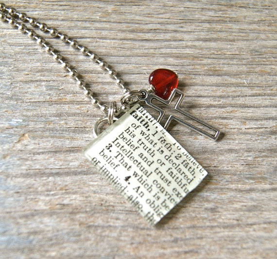 Faith - Altered Vintage Glass Watch Crystal Pendant Necklace - Recycled Upcycled - Ready To Ship