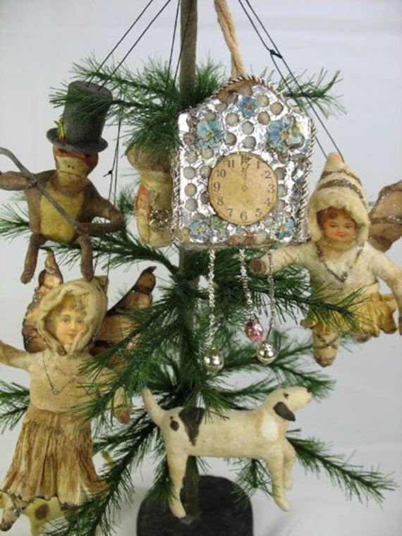 Antique type Sebnitz Clock Ornament Miniature