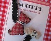 Scottish Terrier Dog Friend Bookmark, Vintage Wool, 2-sided