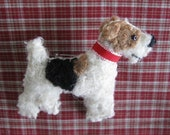 Wire Fox Terrier Wool Dog Friend Pin / Brooch with Gift Card