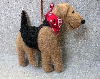 FOR JANUARY DELIVERY Airedale Terrier Wool Dog Friend Ornament, Handsewn
