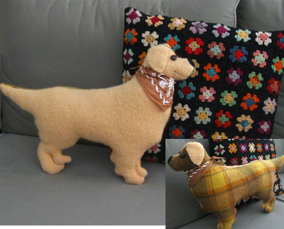 READY TO SHIP Golden Retriever Large Pillow - 22 inch - Vintage Wool - Golden Yellow and Plaid Wool